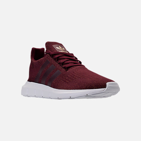 Three Quarter view of Women's adidas Swift Run Casual Shoes in Maroon/White