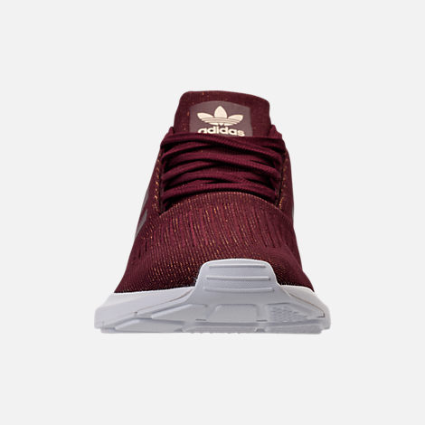 Front view of Women's adidas Swift Run Casual Shoes in Maroon/White