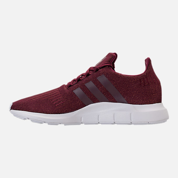 Left view of Women's adidas Swift Run Casual Shoes in Maroon/White