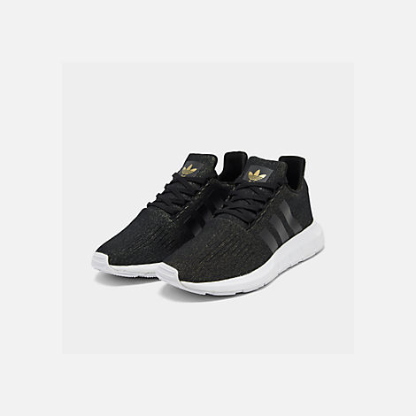 Three Quarter view of Women's adidas Swift Run Casual Shoes in Core Black/White