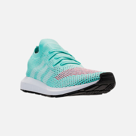 Three Quarter view of Women's adidas Swift Run Primeknit Casual Shoes in Aqua/White/Black