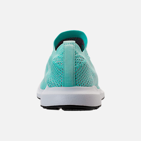 Back view of Women's adidas Swift Run Primeknit Casual Shoes in Aqua/White/Black