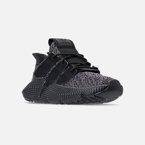 Three Quarter view of Men's adidas Originals Prophere Casual Shoes in Core Black/Solar Red