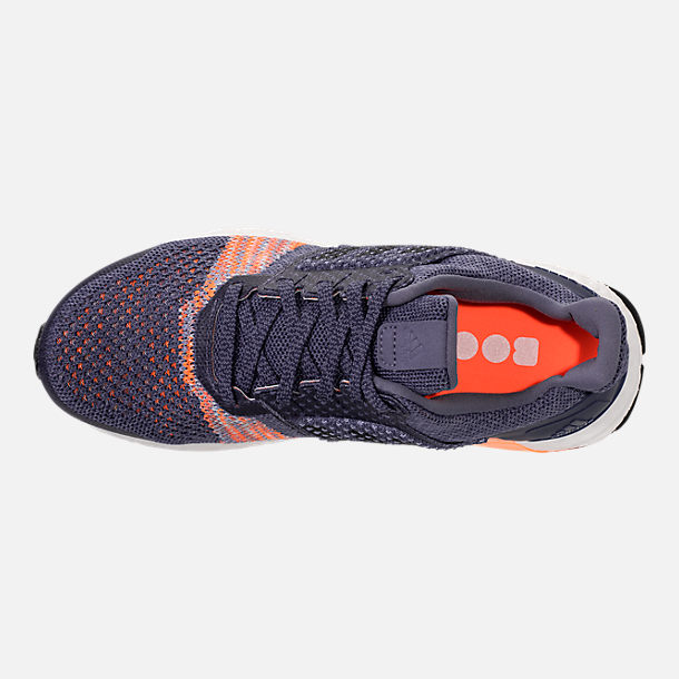 Top view of Women's adidas UltraBOOST ST Running Shoes in Raw Indigo/Noble Ink/Hi-Res Orange