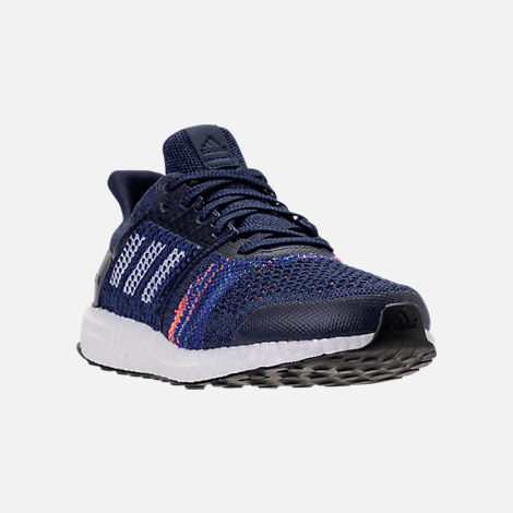 Three Quarter view of Men's adidas UltraBOOST ST Running Shoes in Noble Indigo/White/Collegiate Navy