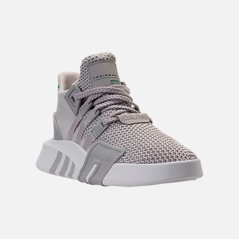 Three Quarter view of Boys' Grade School adidas EQT ADV Basketball Casual Shoes in Grey/Grey/Sub Green