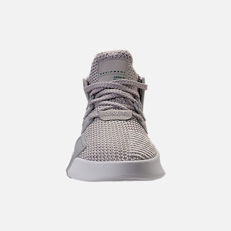 Front view of Boys' Grade School adidas EQT ADV Basketball Casual Shoes in Grey/Grey/Sub Green
