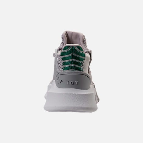 Back view of Boys' Grade School adidas EQT ADV Basketball Casual Shoes in Grey/Grey/Sub Green