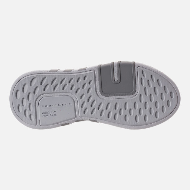 Bottom view of Boys' Grade School adidas EQT ADV Basketball Casual Shoes in Grey/Grey/Sub Green