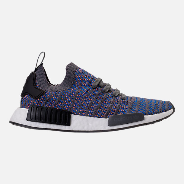 Right view of Men's adidas NMD Runner R1 STLT Primeknit Casual Shoes in Hi-Res Blue/Core Black/Chalk Coral