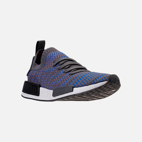 Three Quarter view of Men's adidas NMD Runner R1 STLT Primeknit Casual Shoes in Hi-Res Blue/Core Black/Chalk Coral