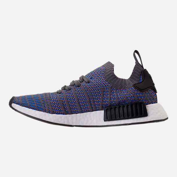 Left view of Men's adidas NMD Runner R1 STLT Primeknit Casual Shoes in Hi-Res Blue/Core Black/Chalk Coral