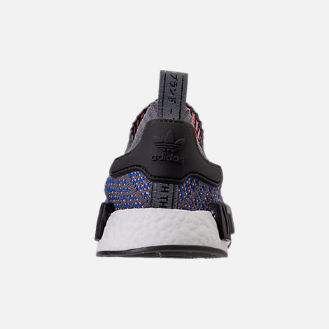 Back view of Men's adidas NMD Runner R1 STLT Primeknit Casual Shoes in Hi-Res Blue/Core Black/Chalk Coral
