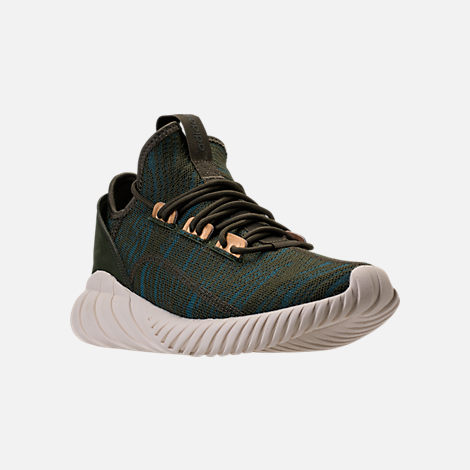 Three Quarter view of Women's adidas Tubular Doom Sock Casual Shoes in Night Cargo/Teal/Copper