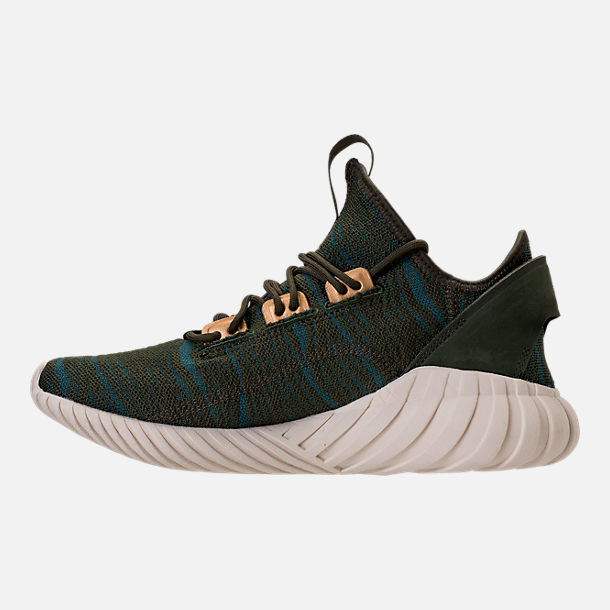 Left view of Women's adidas Tubular Doom Sock Casual Shoes in Night Cargo/Teal/Copper