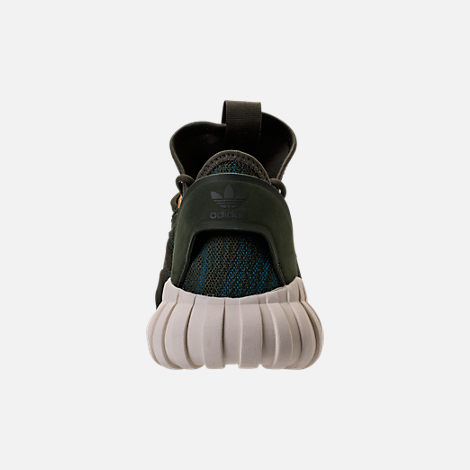 Back view of Women's adidas Tubular Doom Sock Casual Shoes in Night Cargo/Teal/Copper