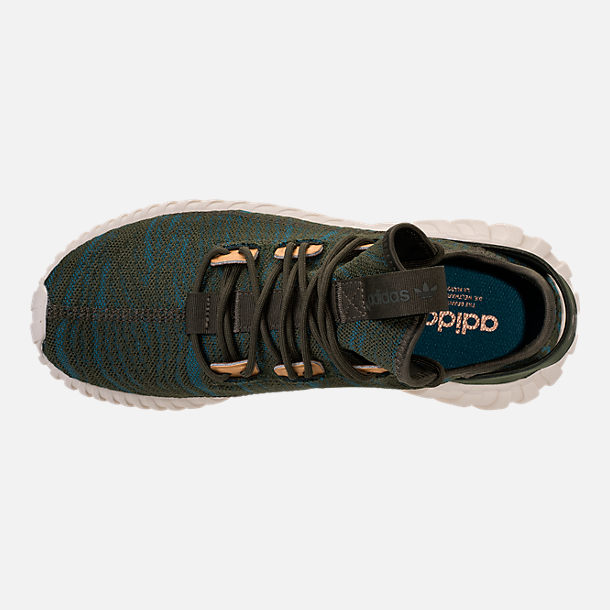 Top view of Women's adidas Tubular Doom Sock Casual Shoes in Night Cargo/Teal/Copper