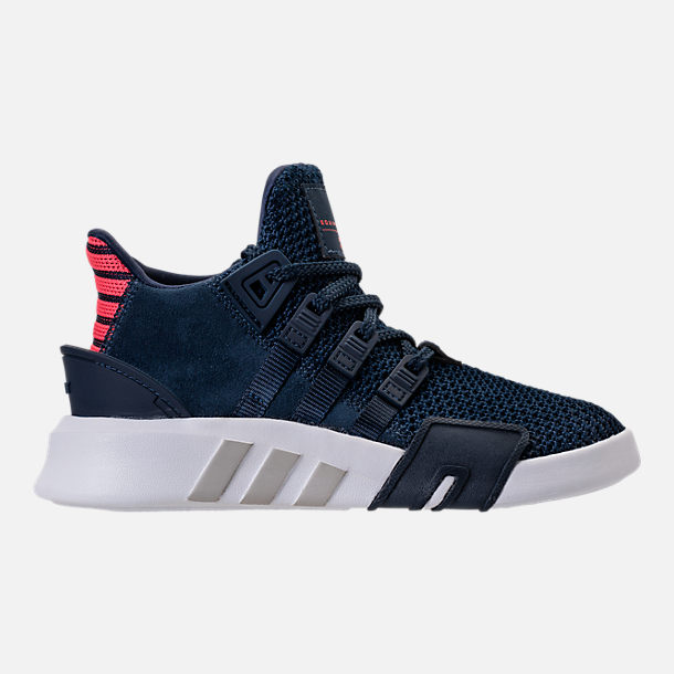 Right view of Boys' Preschool adidas EQT Basketball ADV Casual Shoes in Collegiate Navy/Real Coral