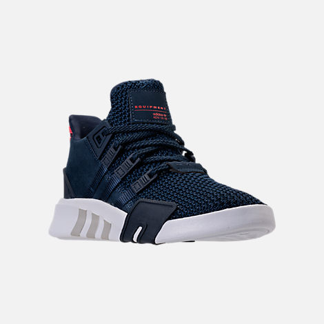 Three Quarter view of Boys' Preschool adidas EQT Basketball ADV Casual Shoes in Collegiate Navy/Real Coral