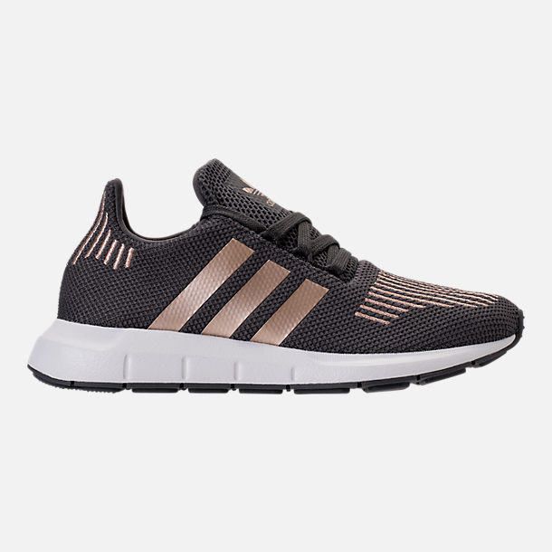 Right view of Girls' Grade School adidas Swift Run Casual Shoes in Grey/Copper/White