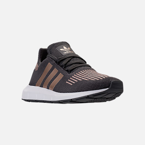 Three Quarter view of Girls' Grade School adidas Swift Run Casual Shoes in Grey/Copper/White