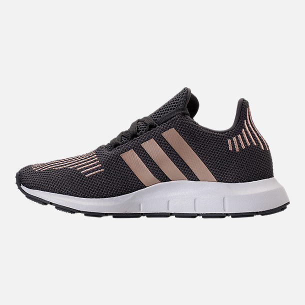 Left view of Girls' Grade School adidas Swift Run Casual Shoes in Grey/Copper/White