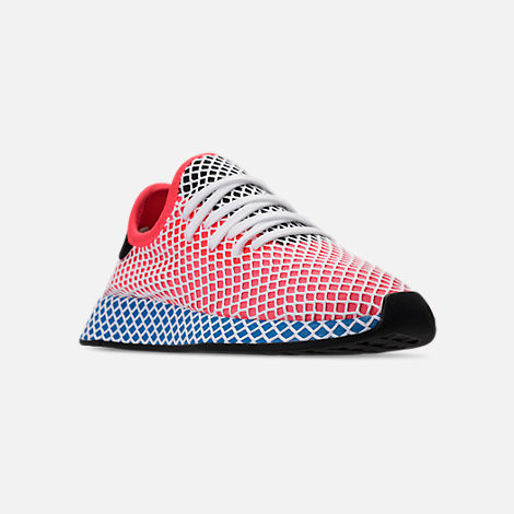 Three Quarter view of Men's adidas Originals Deerupt Runner Casual Shoes in Red/White/Black/Blue