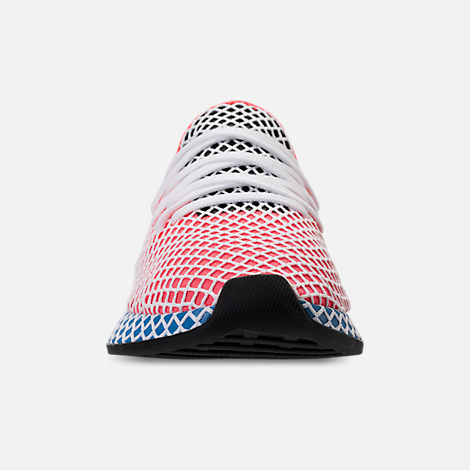 Front view of Men's adidas Originals Deerupt Runner Casual Shoes in Red/White/Black/Blue