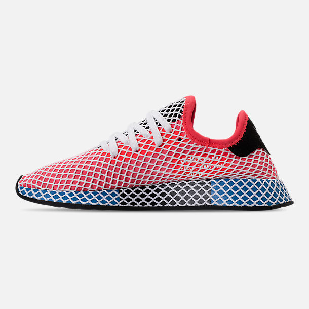 Left view of Men's adidas Originals Deerupt Runner Casual Shoes in Red/White/Black/Blue