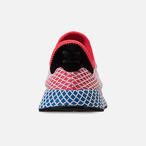 Back view of Men's adidas Originals Deerupt Runner Casual Shoes in Red/White/Black/Blue