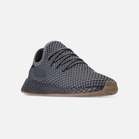 Three Quarter view of Men's adidas Originals Deerupt Runner Casual Shoes in Grey/Grey/White