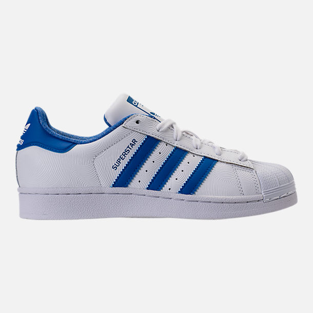 Right view of Kids' Grade School adidas Superstar Casual Shoes in  White/Blue/
