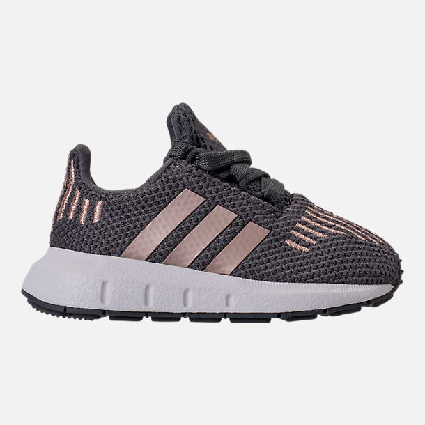 Right view of Girls' Toddler adidas Swift Run Casual Shoes in Grey/Copper/White