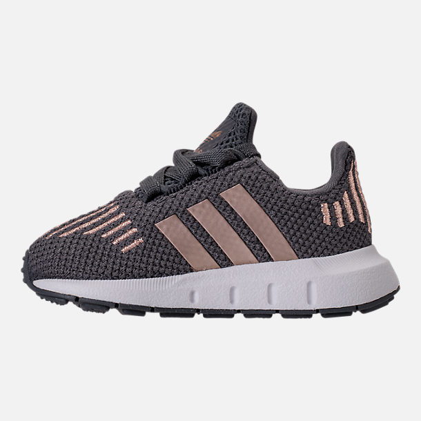 Left view of Girls' Toddler adidas Swift Run Casual Shoes in Grey/Copper/White