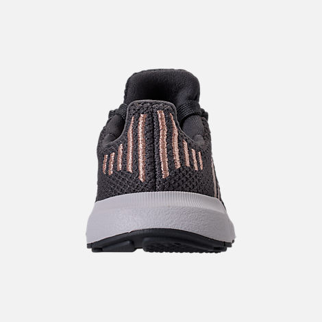 Back view of Girls' Toddler adidas Swift Run Casual Shoes in Grey/Copper/White