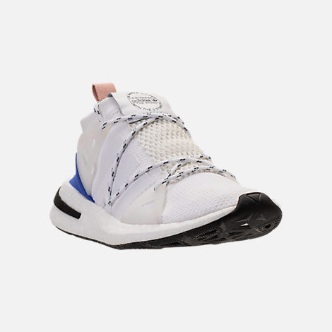 Three Quarter view of Women's adidas Originals Arkyn Boost Casual Shoes in White/Ash Pearl