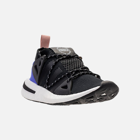 Three Quarter view of Women's adidas Originals Arkyn Boost Casual Shoes in Core Black/Ash Pearl
