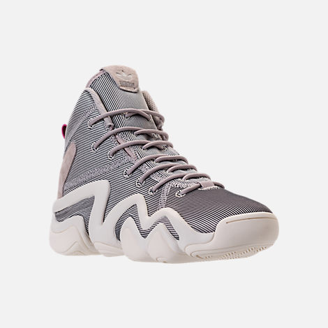 Three Quarter view of Women's adidas Crazy 8 Casual Shoes in Platinum Metallic/Off White