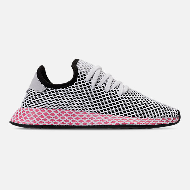 Right view of Women's adidas Originals Deerupt Runner Casual Shoes in Black/Chalk Pink
