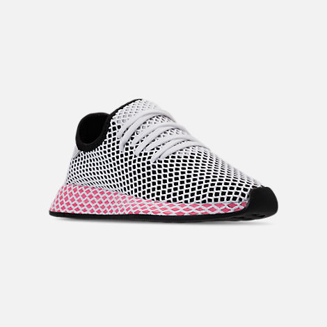 Three Quarter view of Women's adidas Originals Deerupt Runner Casual Shoes in Black/Chalk Pink