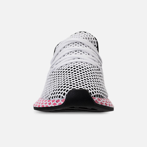 Front view of Women's adidas Originals Deerupt Runner Casual Shoes in Black/Chalk Pink