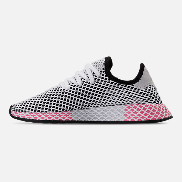 Left view of Women's adidas Originals Deerupt Runner Casual Shoes in Black/Chalk Pink