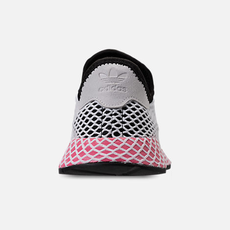 Back view of Women's adidas Originals Deerupt Runner Casual Shoes in Black/Chalk Pink