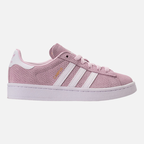 Right view of Girls' Grade School adidas Campus adicolor Casual Shoes in Aero Pink/White