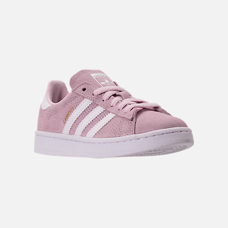Three Quarter view of Girls' Grade School adidas Campus adicolor Casual Shoes in Aero Pink/White