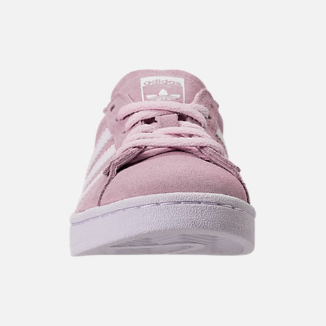 Front view of Girls' Grade School adidas Campus adicolor Casual Shoes in Aero Pink/White