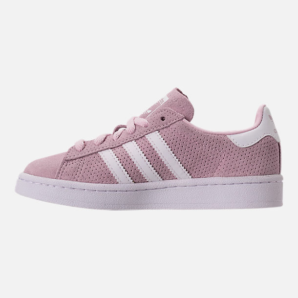 Left view of Girls' Grade School adidas Campus adicolor Casual Shoes in Aero Pink/White