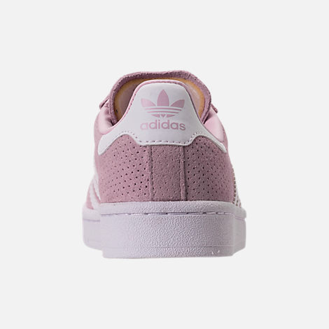 Back view of Girls' Grade School adidas Campus adicolor Casual Shoes in Aero Pink/White