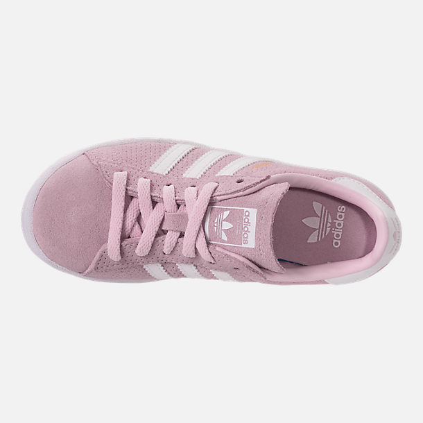 Top view of Girls' Big Kids' adidas Campus adicolor Casual Shoes in Aero Pink/White