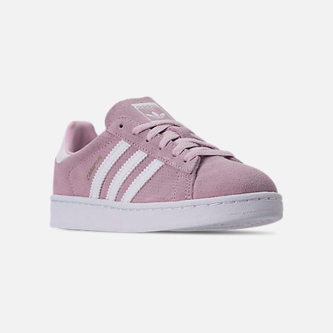 Three Quarter view of Girls' Little Kids' adidas Campus adicolor Casual Shoes in Aero Pink/Footwear White